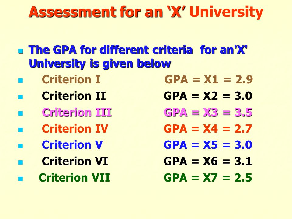 Assessment for an 'X' University