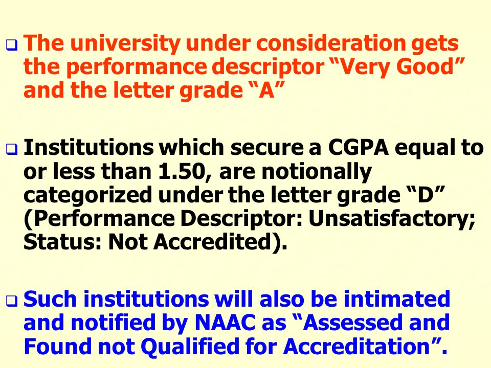 The university under consideration gets the performance descriptor Very Good and the letter grade A