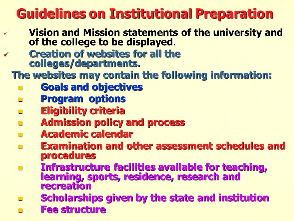 Guidelines on Institutional Preparation
