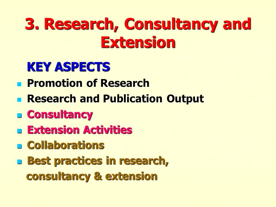 3. Research, Consultancy and Extension