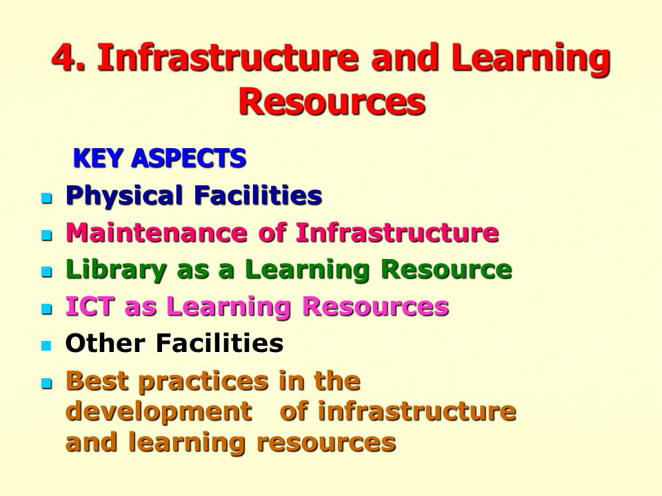 4. Infrastructure and Learning Resources