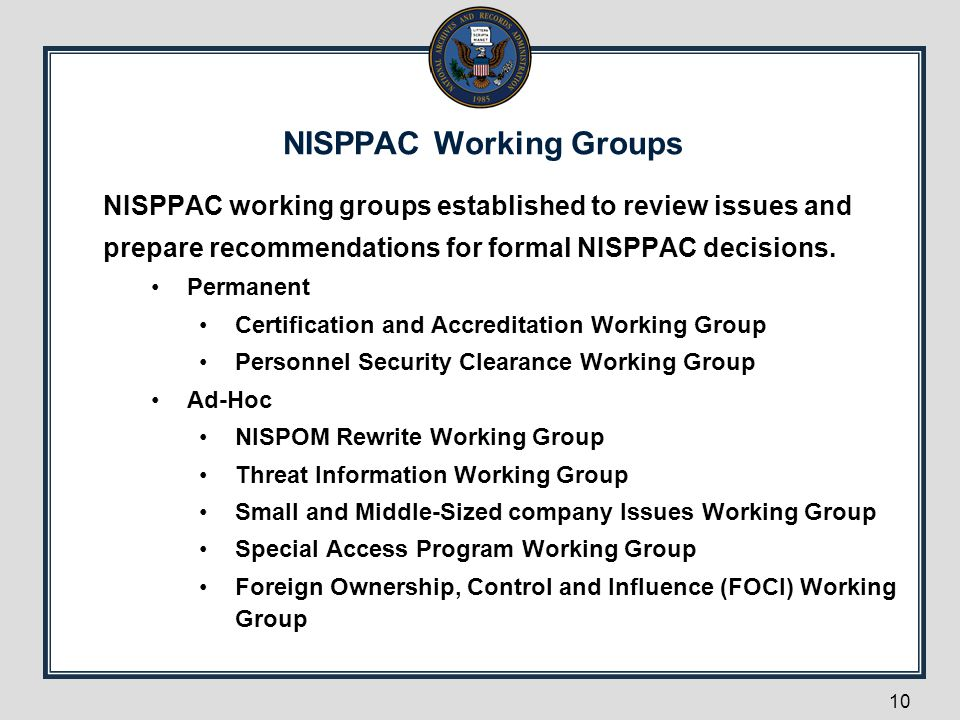 NISPPAC Working Groups