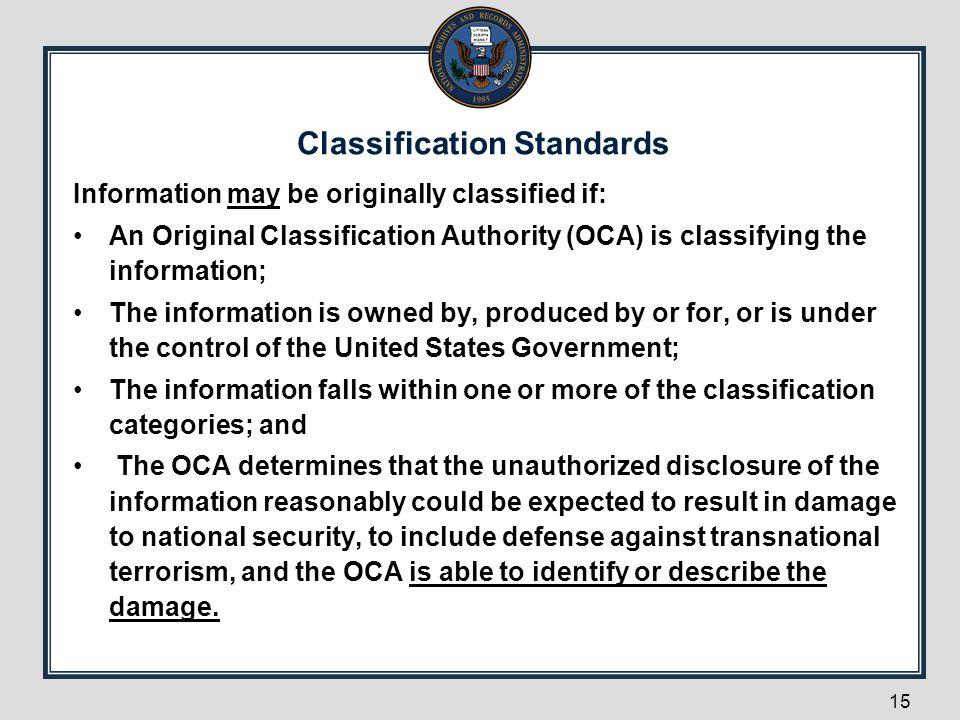 Classification Standards