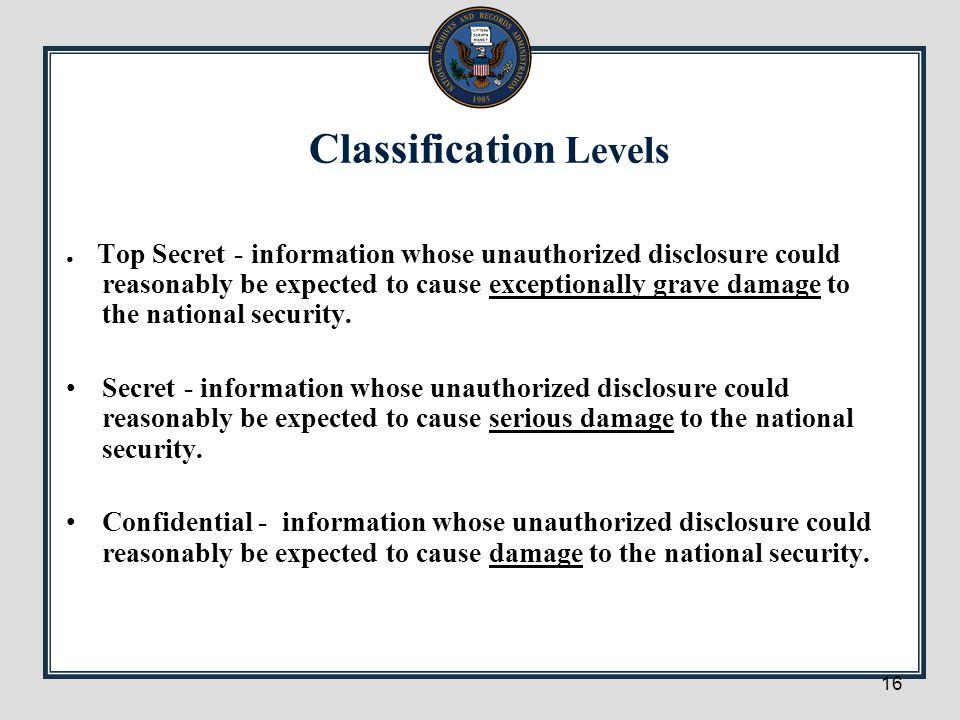 Classification Levels