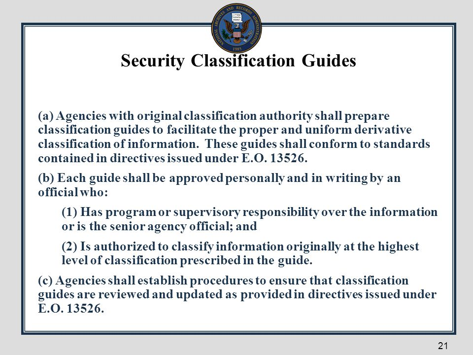 Security Classification Guides