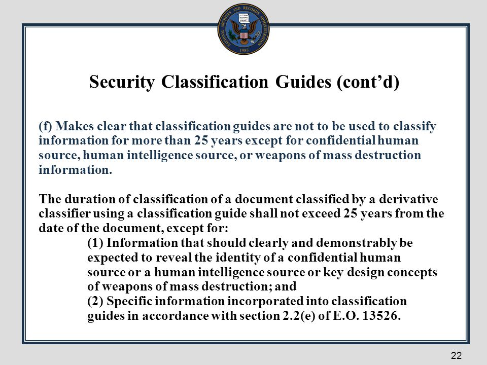Security Classification Guides (cont'd)