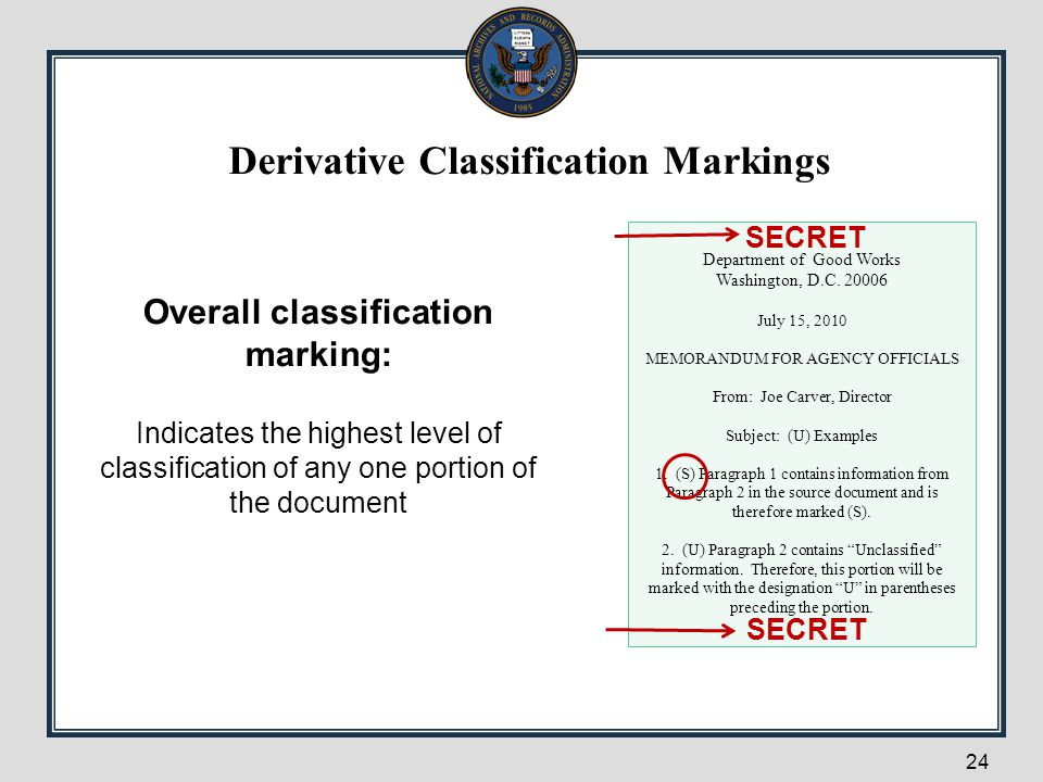 Derivative Classification Markings Overall classification marking: