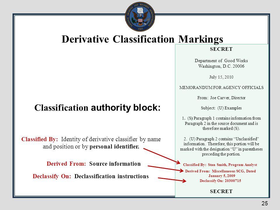 Derivative Classification Markings Classification authority block:
