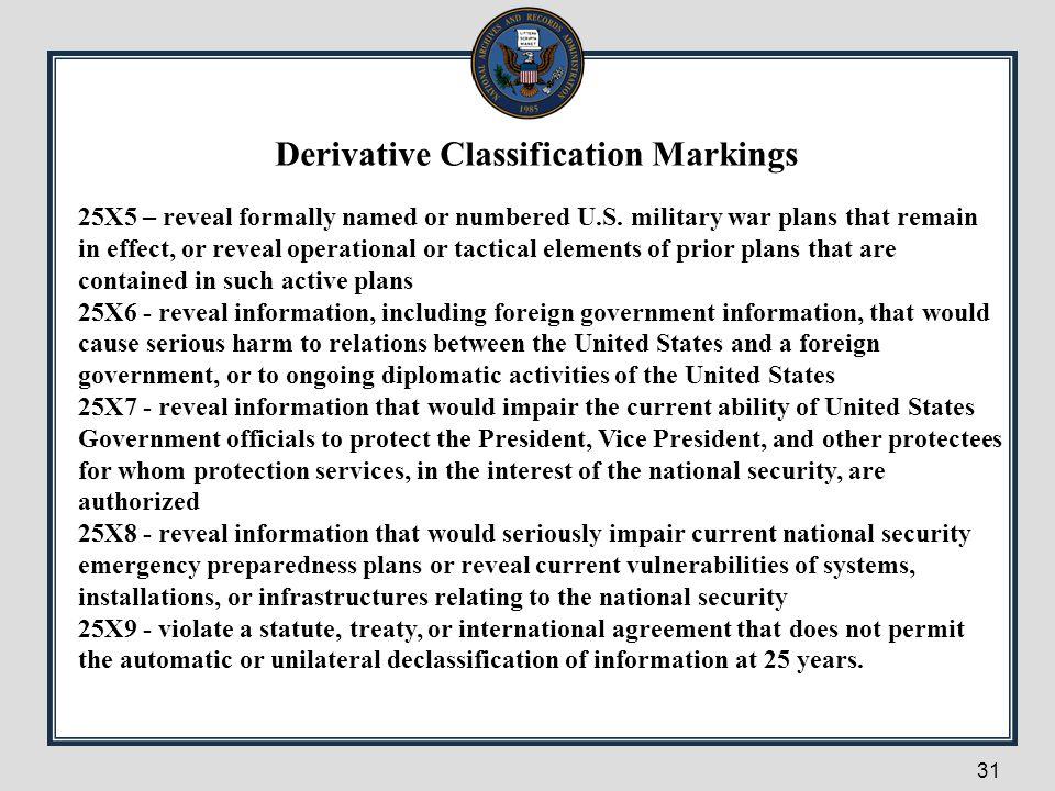 Derivative Classification Markings