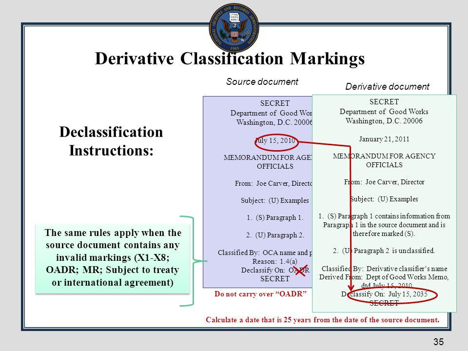 Derivative Classification Markings Declassification Instructions: