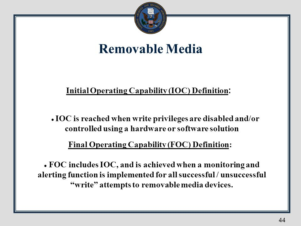 Removable Media Initial Operating Capability (IOC) Definition: