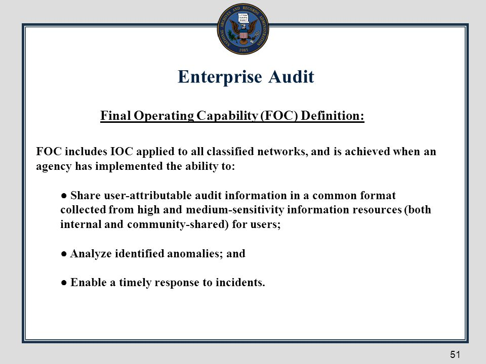 Final Operating Capability (FOC) Definition: