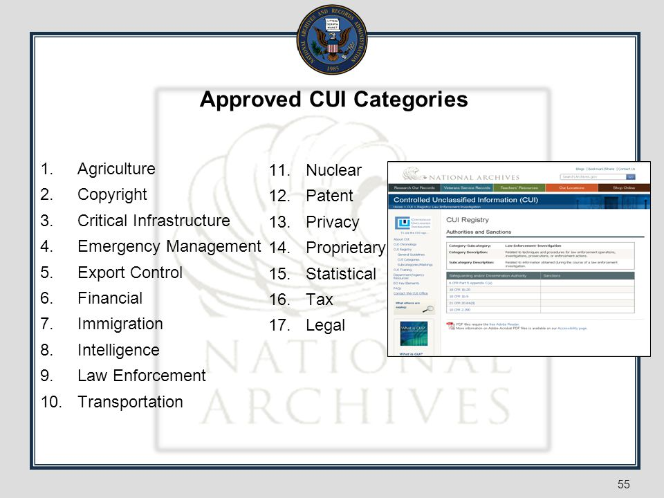Approved CUI Categories