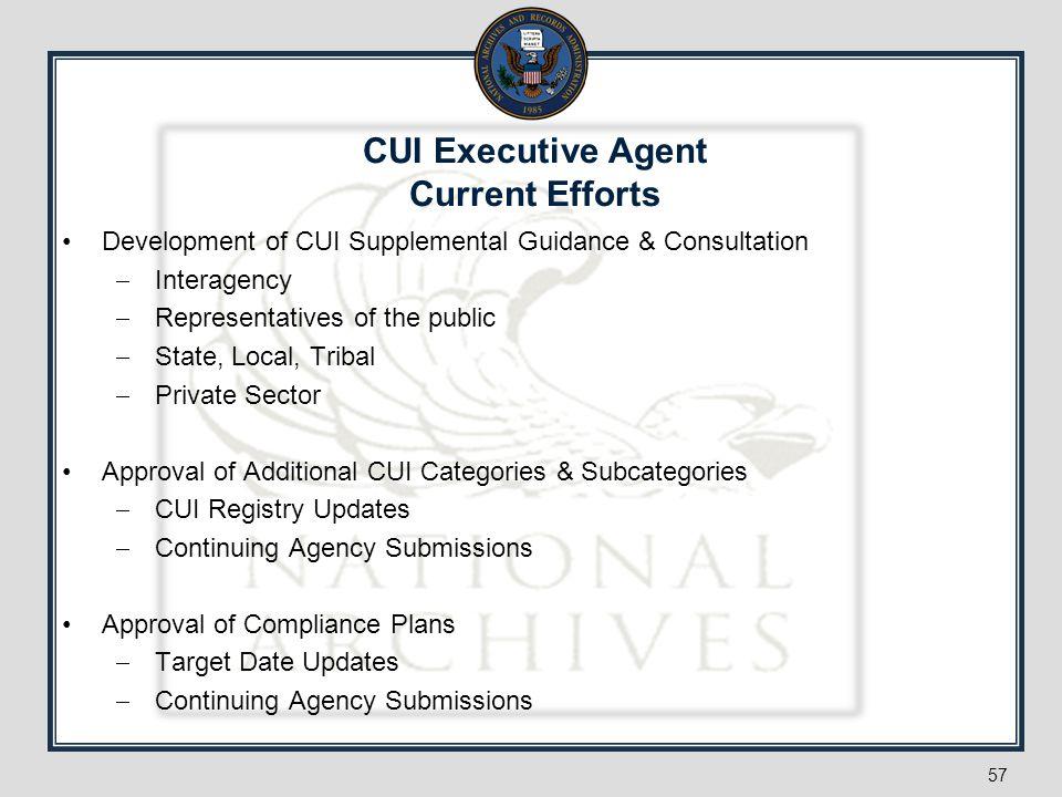 CUI Executive Agent Current Efforts