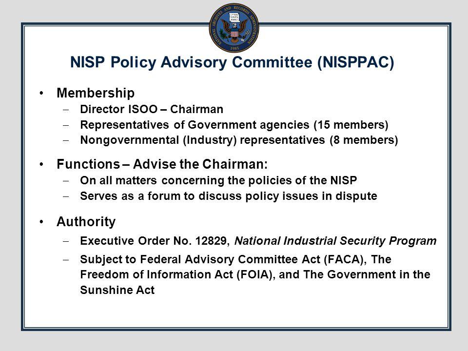 NISP Policy Advisory Committee (NISPPAC)