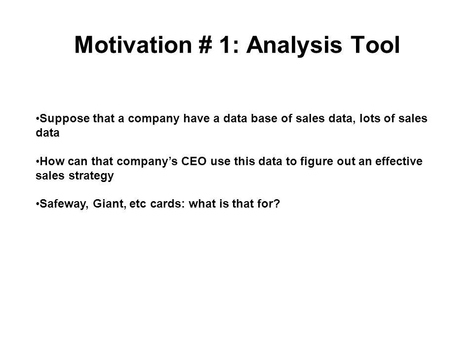 Motivation # 1: Analysis Tool