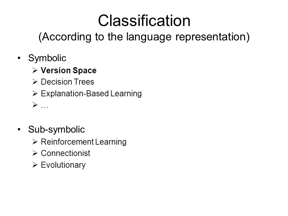 Classification (According to the language representation)