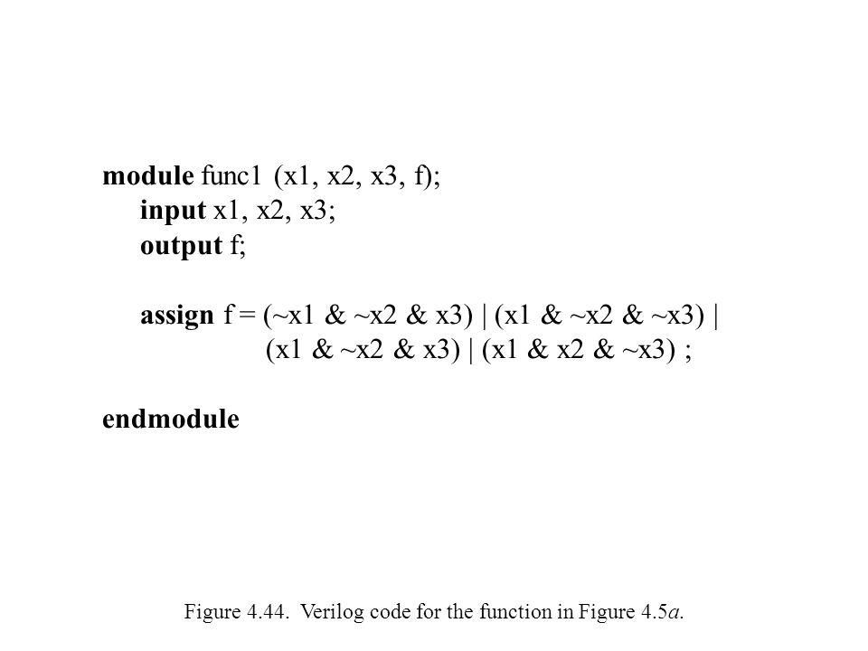 Figure 4.44. Verilog code for the function in Figure 4.5a.