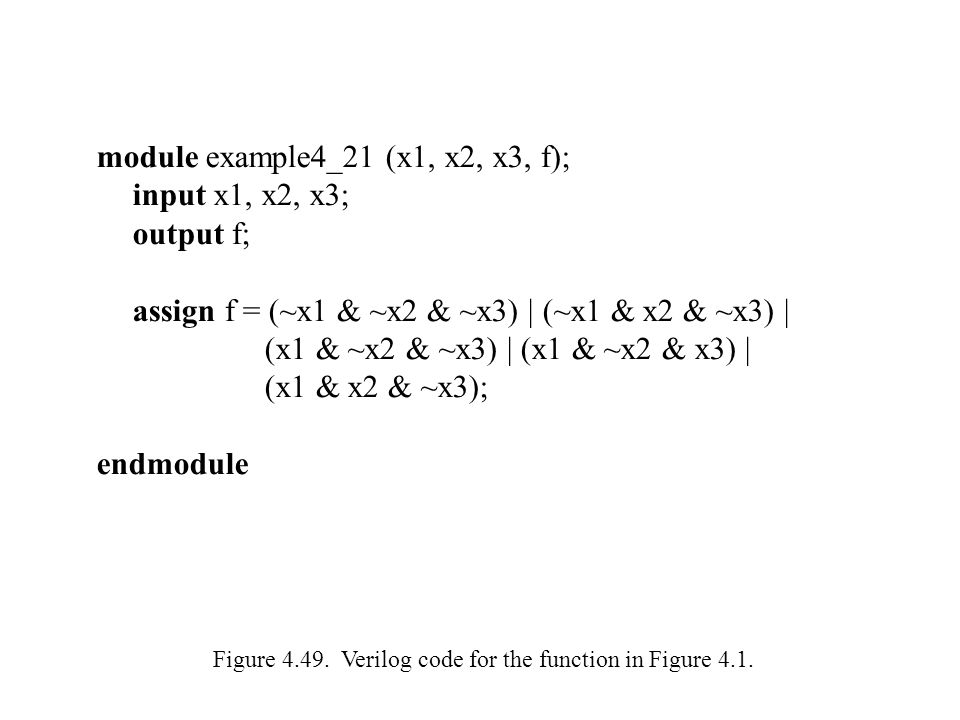 module example4_21 (x1, x2, x3, f); input x1, x2, x3; output f;