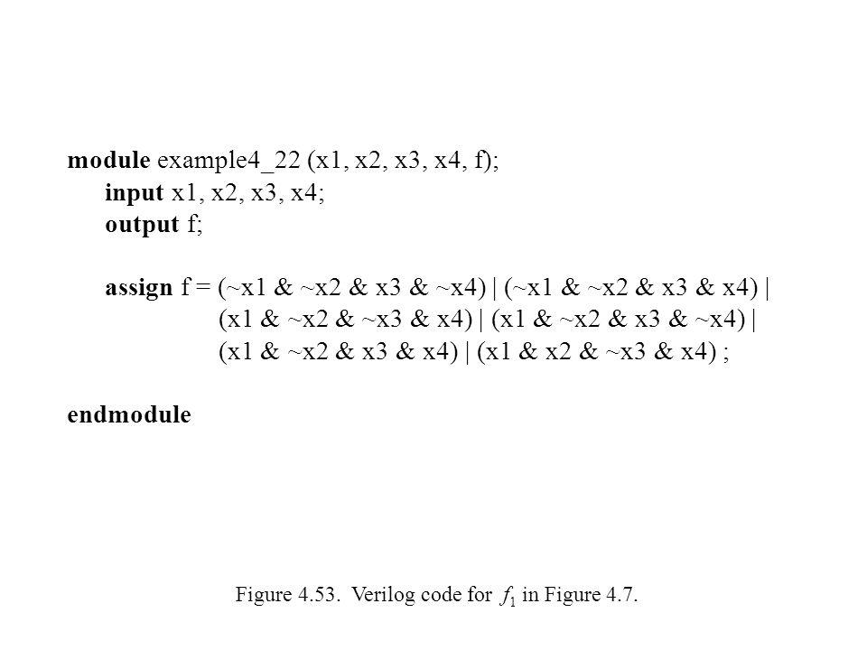 module example4_22 (x1, x2, x3, x4, f); input x1, x2, x3, x4;