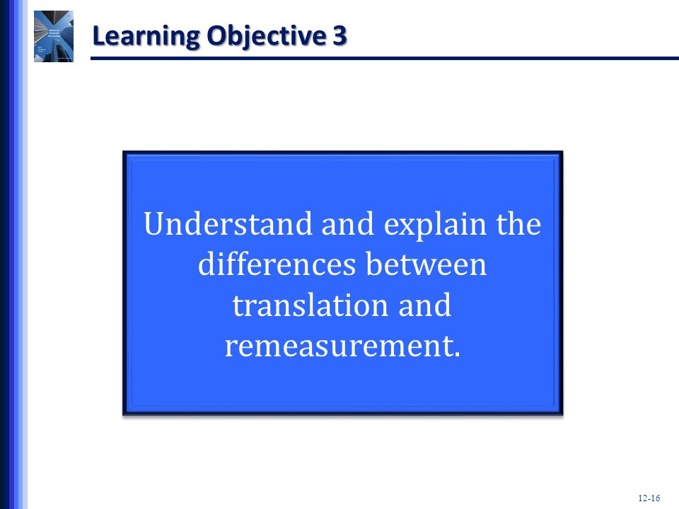 Learning Objective 3 Understand and explain the differences between translation and remeasurement.