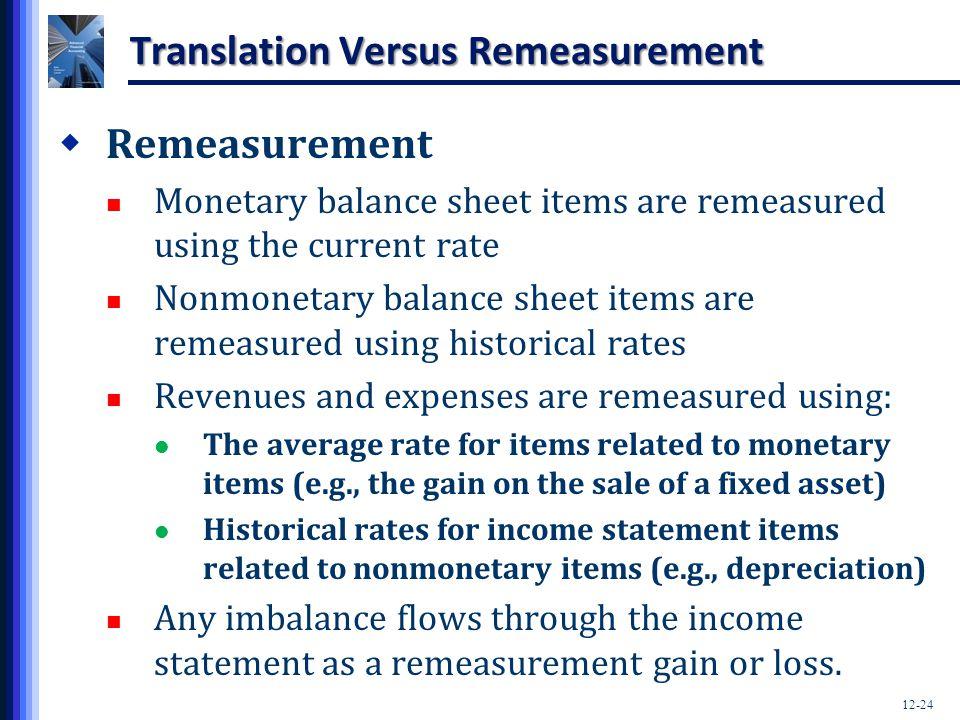 Translation Versus Remeasurement