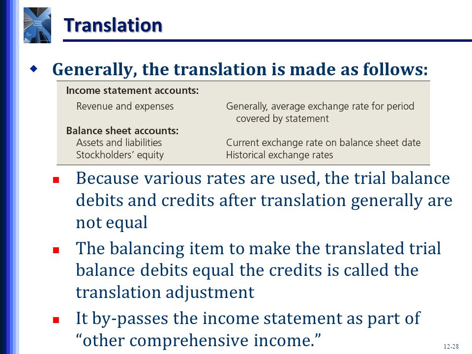 Translation Generally, the translation is made as follows: