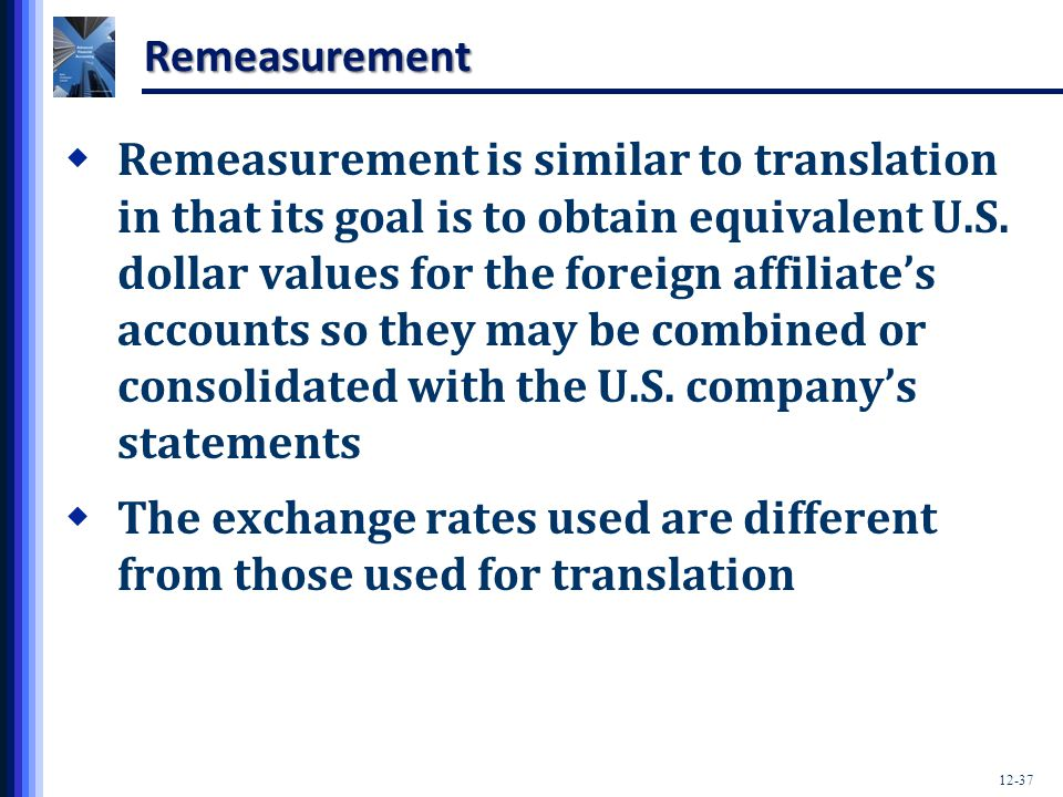 The exchange rates used are different from those used for translation
