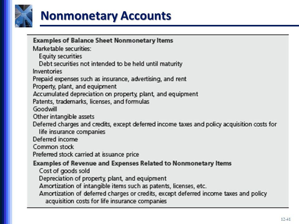 Nonmonetary Accounts