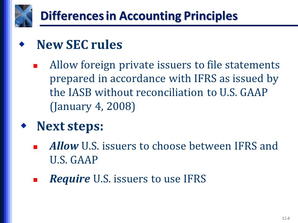 Differences in Accounting Principles