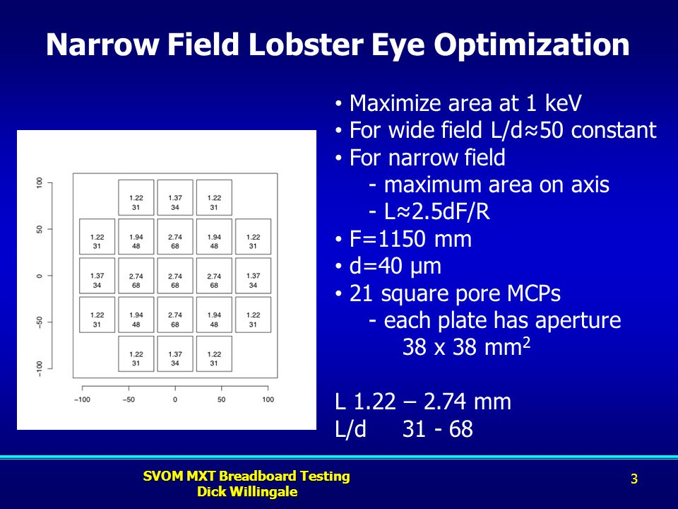 Narrow Field Lobster Eye Optimization