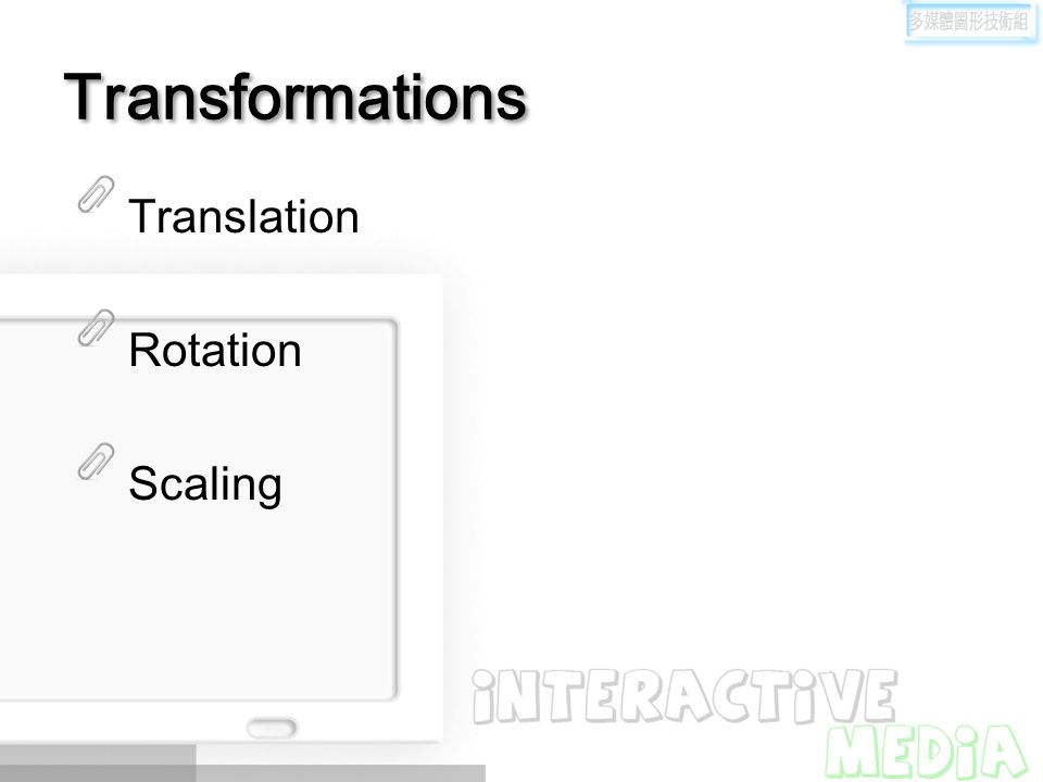 Transformations Translation Rotation Scaling