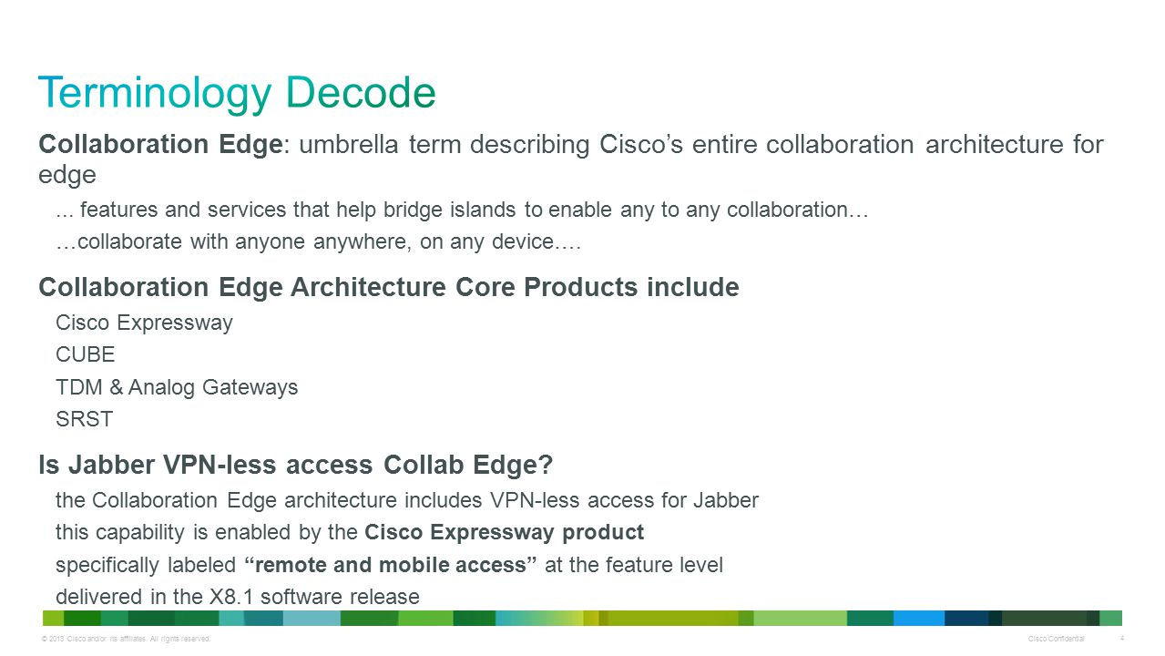 Terminology Decode Collaboration Edge: umbrella term describing Cisco's entire collaboration architecture for edge.