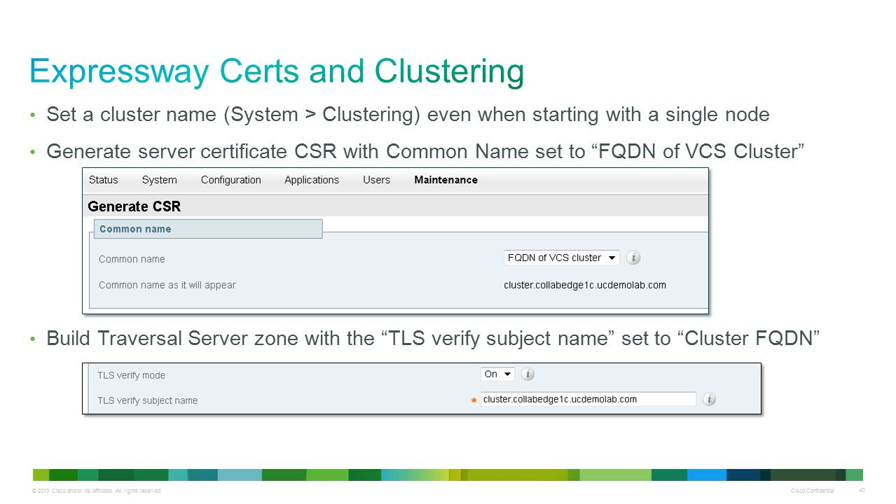 Expressway Certs and Clustering