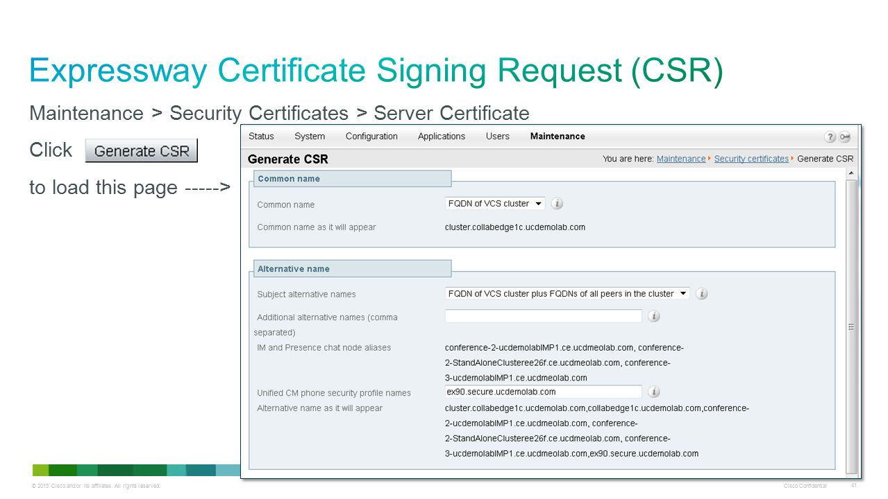 Expressway Certificate Signing Request (CSR)