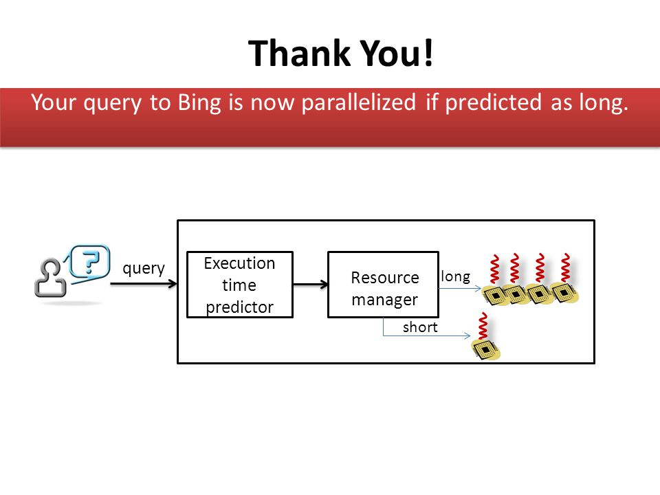 Thank You! Your query to Bing is now parallelized if predicted as long. query. Execution time predictor.