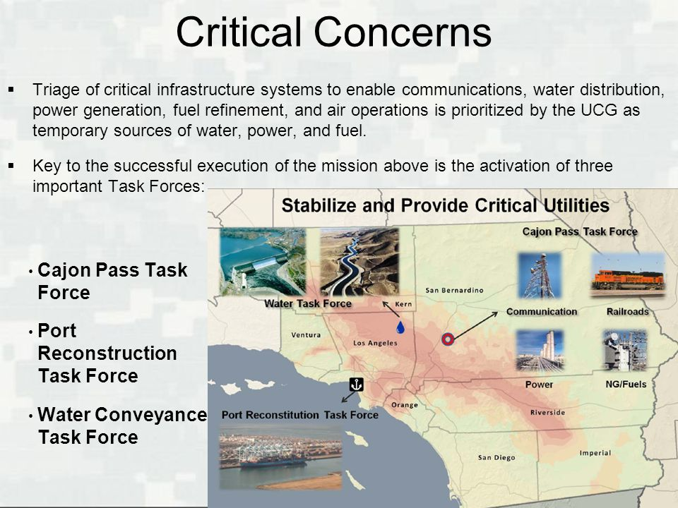 Critical Concerns Cajon Pass Task Force Port Reconstruction Task Force
