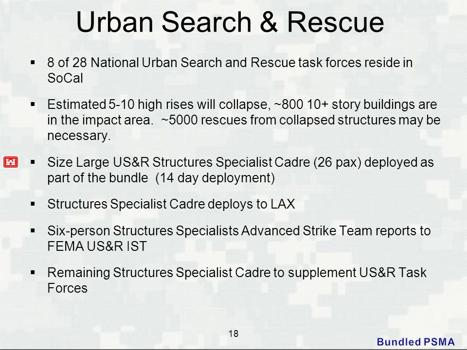 Urban Search & Rescue 8 of 28 National Urban Search and Rescue task forces reside in SoCal.