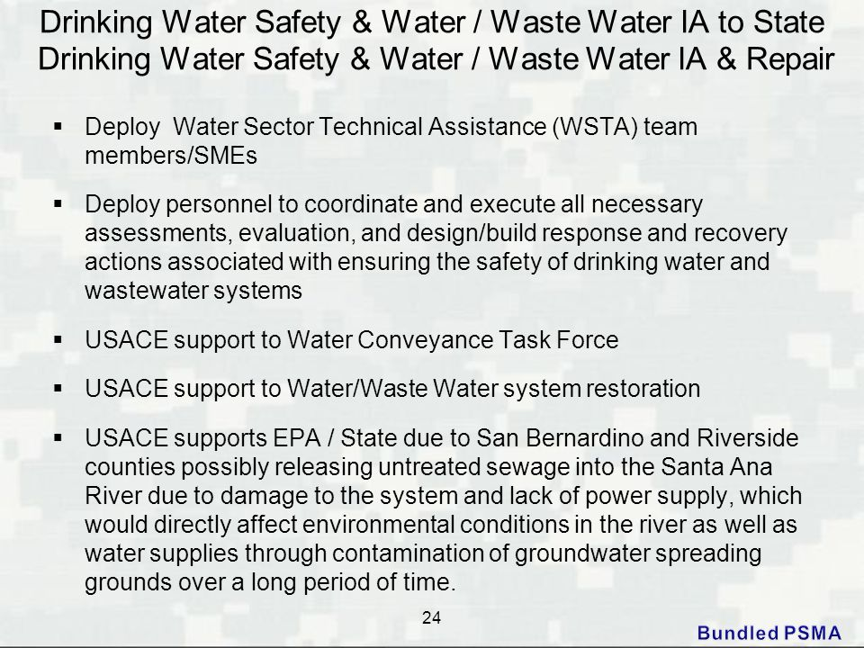 Drinking Water Safety & Water / Waste Water IA to State Drinking Water Safety & Water / Waste Water IA & Repair
