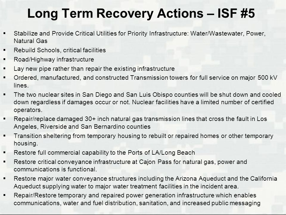 Long Term Recovery Actions – ISF #5