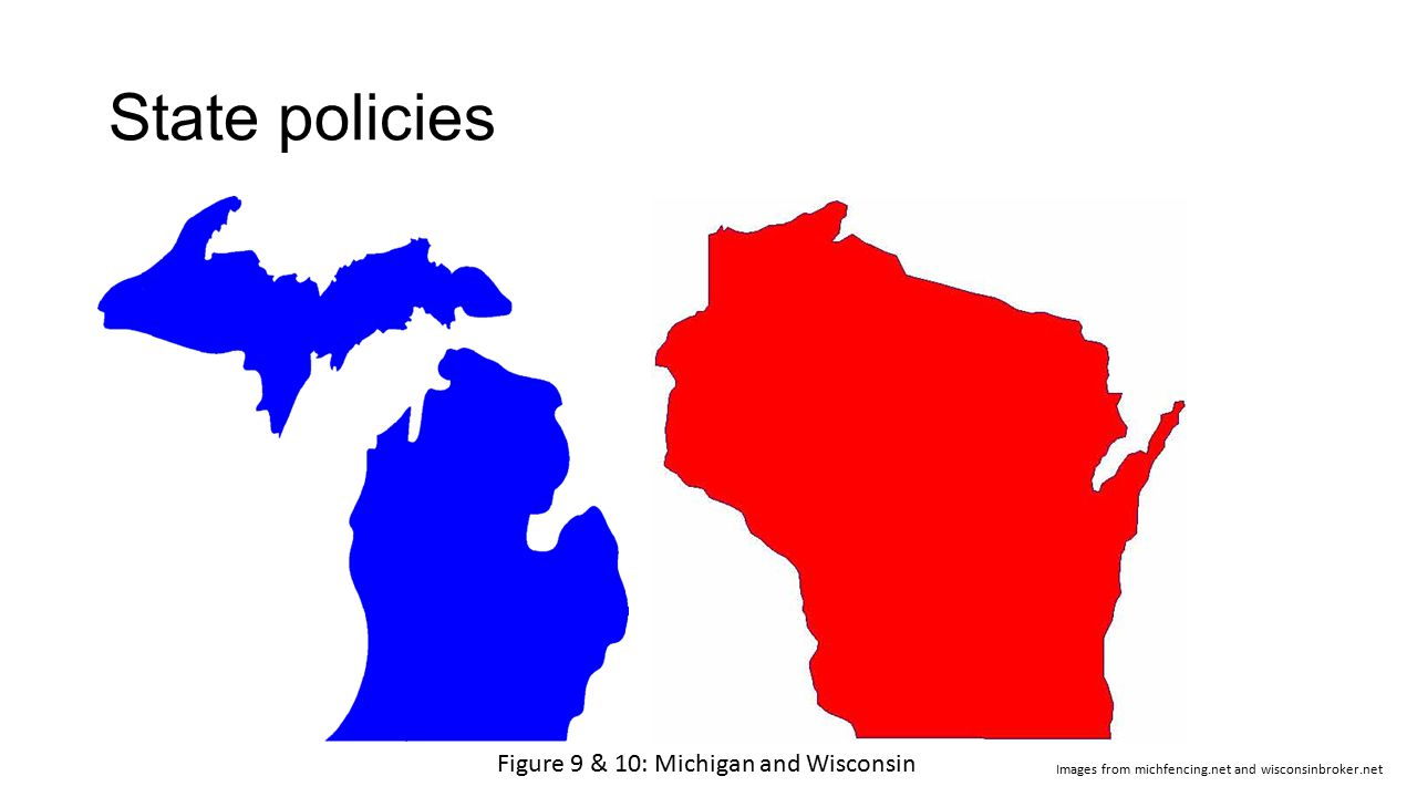 State policies Figure 9 & 10: Michigan and Wisconsin