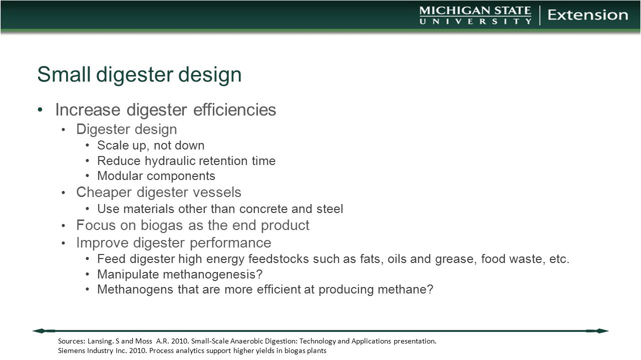 Small digester design Increase digester efficiencies Digester design
