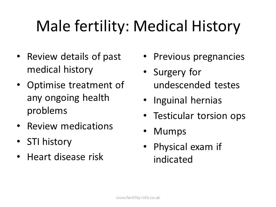Male fertility: Medical History