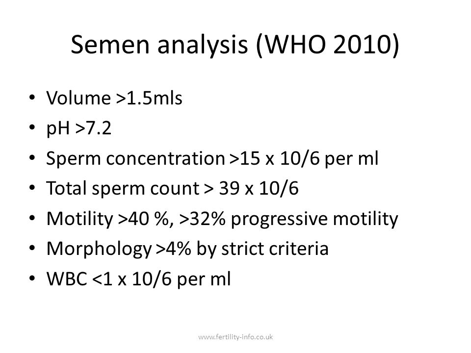 Semen analysis (WHO 2010) Volume >1.5mls pH >7.2