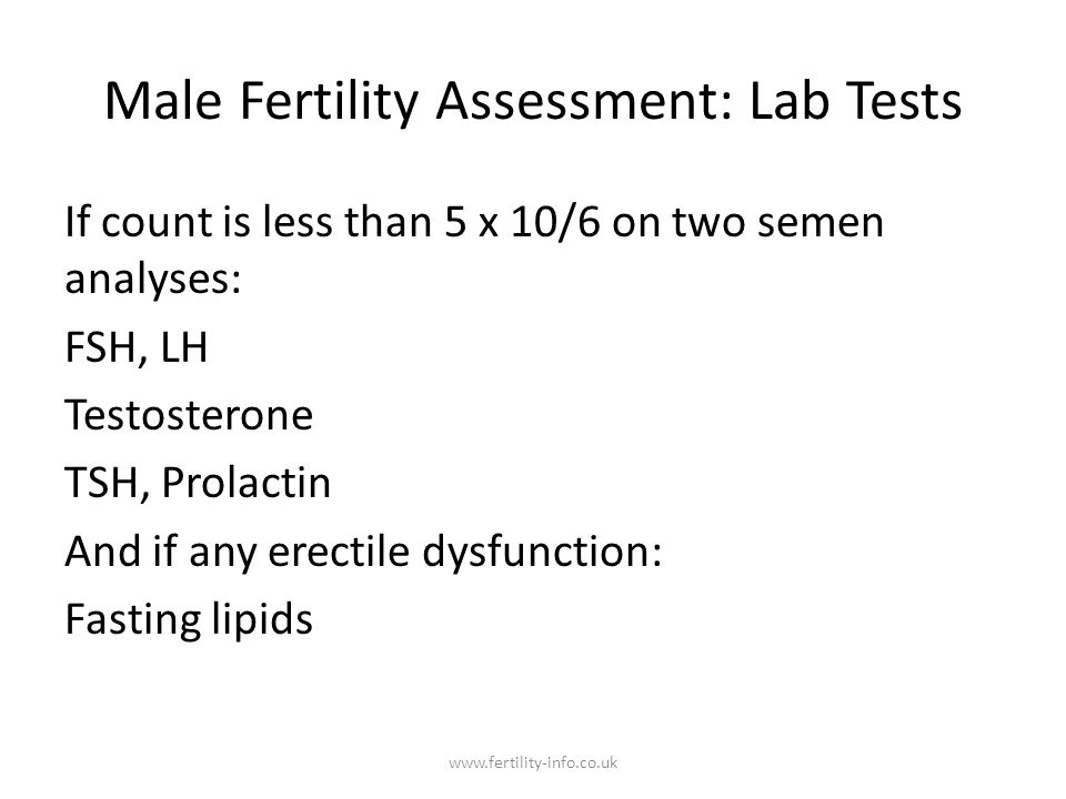 Male Fertility Assessment: Lab Tests