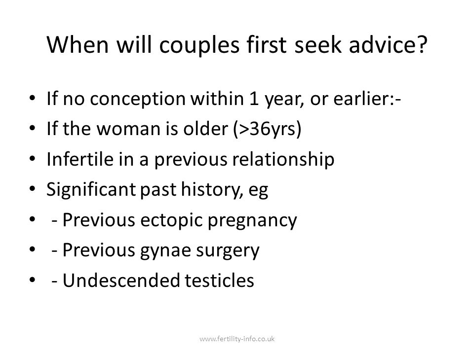 When will couples first seek advice