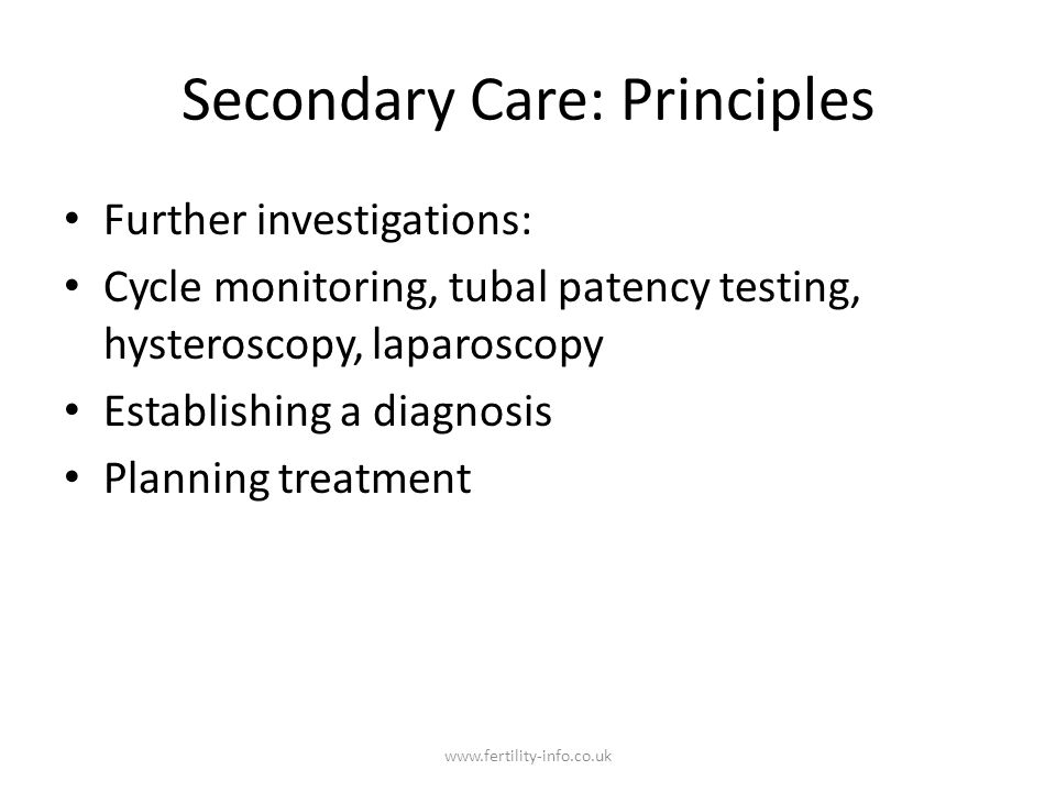 Secondary Care: Principles