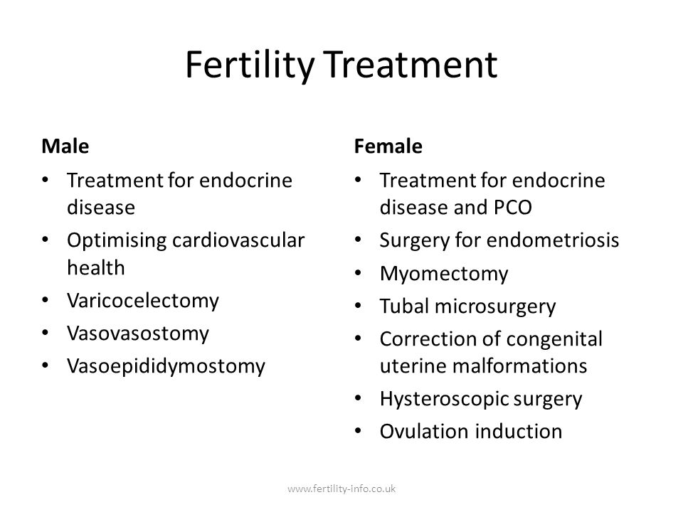 Fertility Treatment Male Female Treatment for endocrine disease