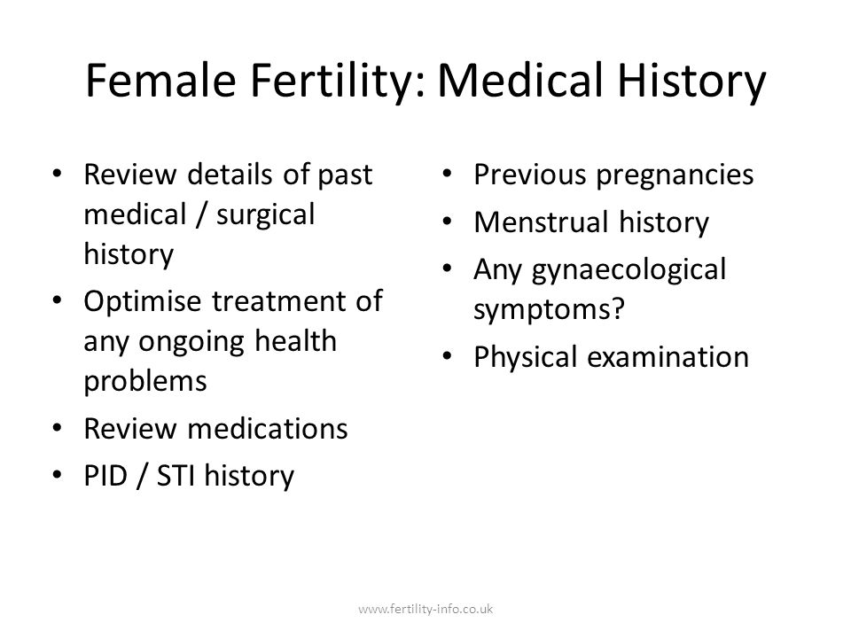 Female Fertility: Medical History