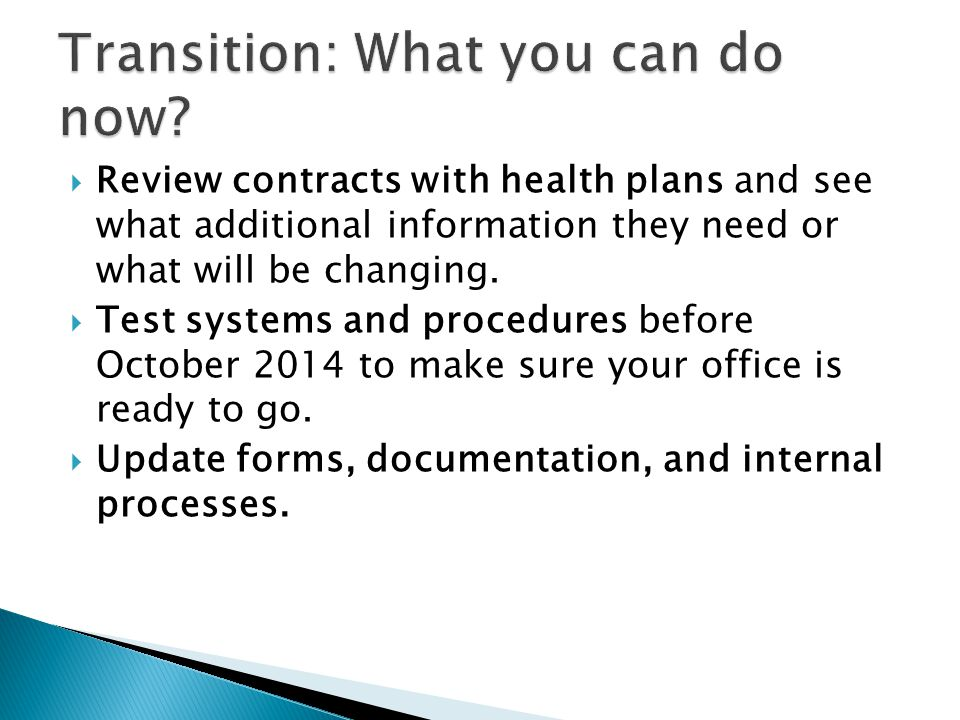 Transition: What you can do now